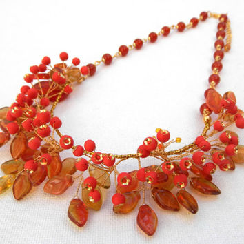 Fall necklace - Berry necklace - Red necklace - Rowan berries - Fall leaves - Handmade bib necklace