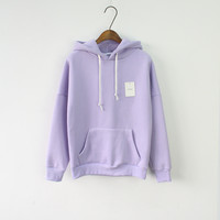 Solid Hooed Hoodies for Women 2017 Hot Sale Korean Pocket Casual Fitness Pullovers Leisure Sweatshirts Drawstring 6 Candy Color