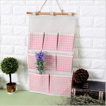 Korean Cotton Linen Storage Plaid Pink Bags [6283600838]