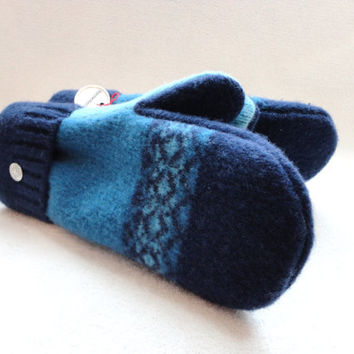Wool Mittens Navy BLUE, TEAL & AQUA Felted Sweater Wool Fair Isle Sweater Wool Mittens Fleece Lined by WormeWoole