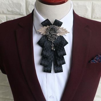 Fashion Mens Wedding Party Pre Tied Black Rhinestone Crystal Dangle Bow Tie Neck Tie