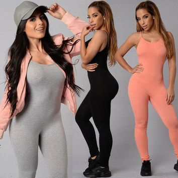 PEAP2Q 2017 special offer hot sale new fashion womens long black pink jumpsuit sexy bust deep o neck rompers women bodycon jumpsuit