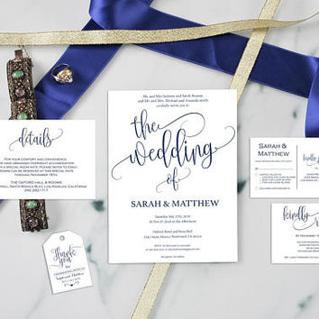 Navy Blue Wedding Invitation - Set Suite Wedding - Rustic Wedding Invitation -  RSVP - Details Card - Downloadable wedding #WDH303_1