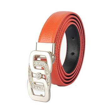 LMFON Womens Geniune Leather Belt Luxury Crystal Diamond Designer Belts