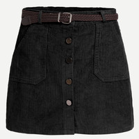 Corduroy Single Breasted Skirt With Belt -SheIn(Sheinside)