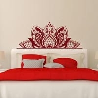 Half Mandala Flower Headboard Wall Decal Bohemian Style Lotus Art Mural Removable Home Vinyl Wall Stickers Master Bedroom SYY398