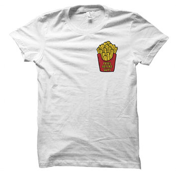 Fries before guys - Funny food quote - Gray/White Unisex T-Shirt - 008-POCKET
