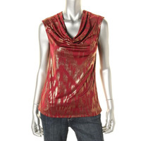 NY Collection Womens Metallic Matte Jersey Tank Top