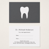 Dental appointment cards - gray, white tooth logo