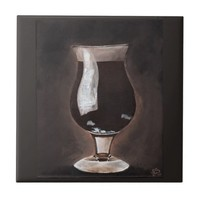 Dark Beer in Tulip Glass Porter Stout Painting Art Small Square Tile