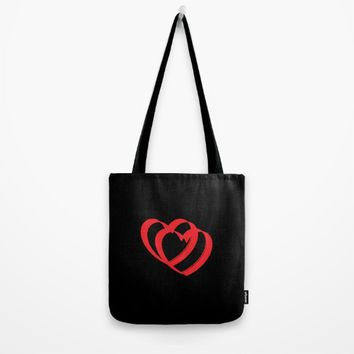 Hearts in black Tote Bag by VickaBoleyn