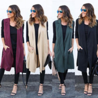 Plain Long jacket cardigan B0015412