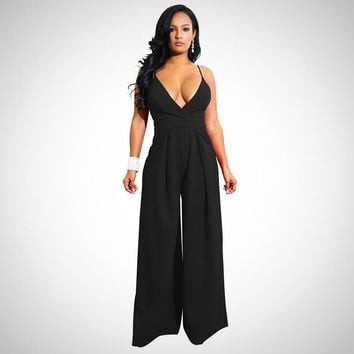 Backless Bow Tie Wide Leg Jumpsuit