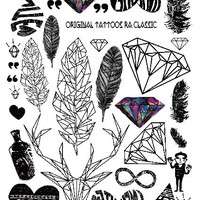 2016 New Arrival Multi-style Fashion Cool Temporary Tattoo with Feathers and Diamond 21x15cm