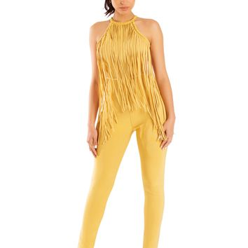 Katt Golden Yellow Embellished Stud Fringe Detail Bandage Jumpsuit