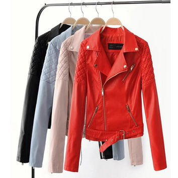 2017 New Fashion Women Faux Leather Jackets Lady Bomber Motorcycle Cool Outerwear Coat clothes