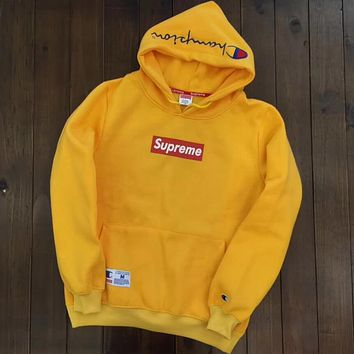Champion X Supreme Trending Women Men Casual Embroidery Long Sleeve Top Sweater Pullover Hoodie Yellow