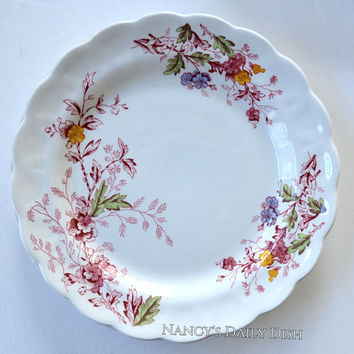 Vintage Red English Garden Transferware Plate Periwnkle Pink Green Yellow Flowers Leaves