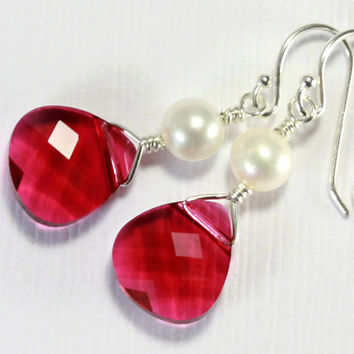 Ruby Earrings Sterling Silver - Ruby Swarovski Earrings with Pearls - Bridesmaid Gift, Bridal Jewelry - JULY BIRTHSTONE