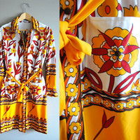 The Fiorenze for Isetan - Vintage 60s Bright Floral Print Belted Dress