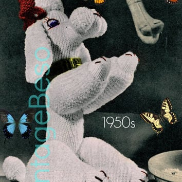 Paulette Poodle KNITTING Pattern 50s Soft Toy Knitting Pattern Dog Knitting Pattern RARE Knitting Pattern Vintage Beso Instant Download PDF