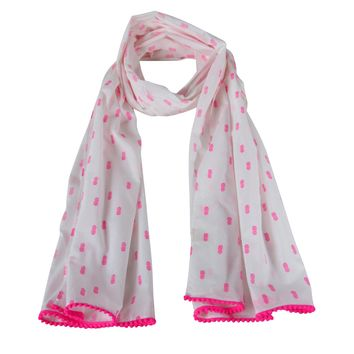 Pink Pineapple Collection;  White & Pink Long Scarf
