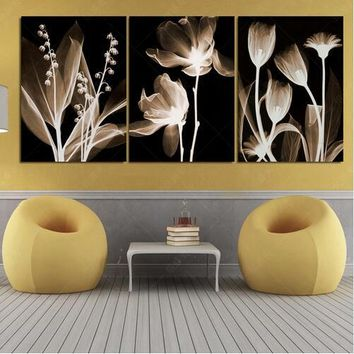 3 Pcs Painting Art Abstract Flowers Home Decor Canvas Print Modular Picture Quadro Mural Wall Pictures For Living Room Unframed