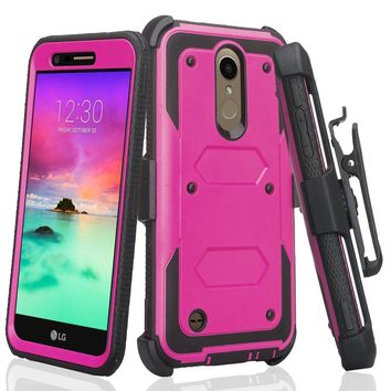 LG K10 (2018) Case, K30, Premier Pro, K10 Plus, K10α, X4 Plus, X410, MS245, Triple Protection 3-1 w/ Built in Screen Protector Heavy Duty Holster Shell Combo Case - Purple