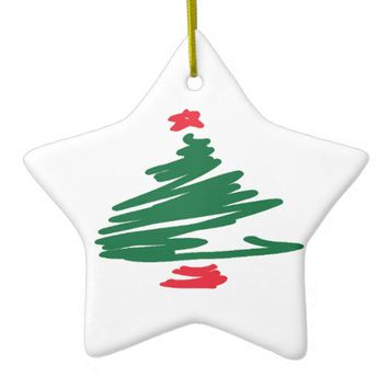 Christmas Tree Double-Sided Star Ceramic Christmas Ornament