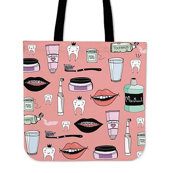 Tooth Care Linen Tote Bag