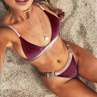 Fashion Sexy Multicolor Triangle Strap Bikini Set Swimsuit Swimwear