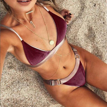 Fashion Multicolor Triangle Strap Bikini Set Swimsuit Swimwear