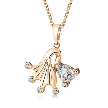 Fashion Porpular Jewelry Gold Plated The White Crystal Women Pendant Necklace Gold Fish Clavicle ChainFashion Porpular Jewelry Gold Plated The White Crystal Women Pendant Necklace Gold Fish Clavicle Chain