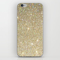 Cream Glitter Art iPhone Skin by kasseggs