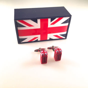 UK Flag Phone Booth Cuff Links, Red Telephone Box Cufflinks, Phone Booth Cufflinks, Wedding Cuff Links, Father's Day, Graduation Gift