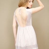Dove grey open back sundress with mesh detailing at the yoke and hem | shopcuffs.com