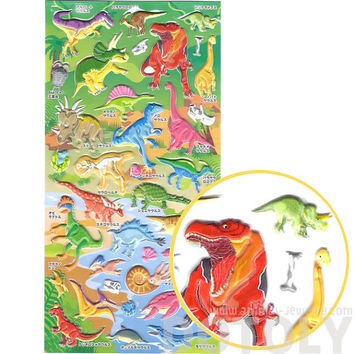 Dinosaur T-Rex Sauropods Raptors Prehistoric Animal Themed Interactive Puffy Stickers | 2 Sheets | Scrapbook Decorating Supplies from Japan