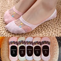 1pair New fashion women's summer thin cotton glass fiber socks slipper cute candy color dot invisible boat socks