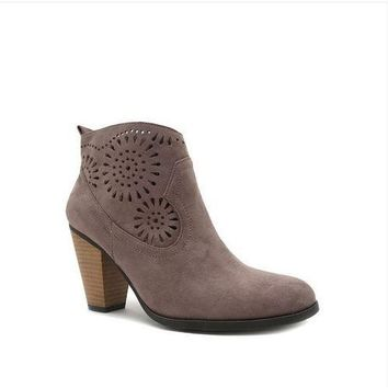 Tread with Me Mandala Cut Out Suede Booties Boots - Taupe