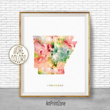 Arkansas Map Art Print Arkansas Art Print Arkansas Decor Arkansas Print Map Artwork Map Print Map Poster Watercolor Map ArtPrintZone