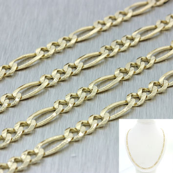 "Men's Women's Italy 14k Solid Yellow Gold 22"" Figaro 4mm Link Chain Necklace 18g"