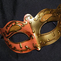 Orange and Gold Masquerade Mask by TheCraftyChemist07 on Etsy