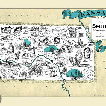 Kansas KS Vintage Map Custom Map Art Print Map Retro Personalized Map Wedding Housewarming Gift Home Decor Wall Decor Wall Art Wichita