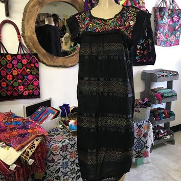 Oaxaca Black Midi Loomed Dress with Floral Embroidery
