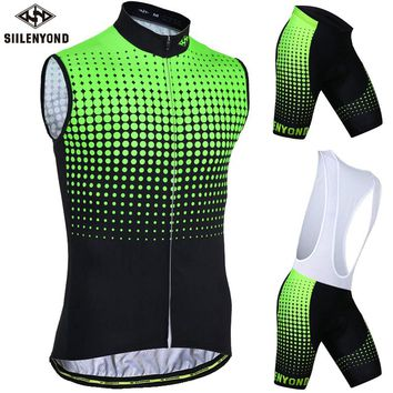 Siilenyond Sleeveless Cycling Jersey Set Mountain Bicycle Cycling Clothing Suit Breathable Racing Bike Clothes Pro Cycling Vests