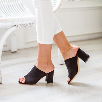 'Elizabeth' Black Peep Toe Booties Suede Leather Sandals