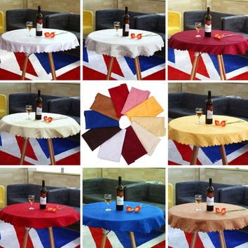 2016 Hot 1M Round Tablecloth Cover Elegant Chic Flower Pattern Wedding Banquet 10 Colors