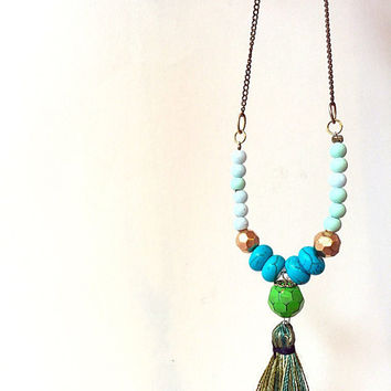 Long turquoise necklace  /tassel necklace/ long necklace with tassel  /eclectic jewelry  / gipsy necklace/ turquoise necklace