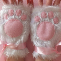 Cute White & Pink Furry Kitty Cat Paw Neko Fingerless Gloves Wrist Warmers Cosplay Halloween Costume Festival