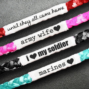 Customizable Military Support Bracelet  Army by MilitaryHeartTees
